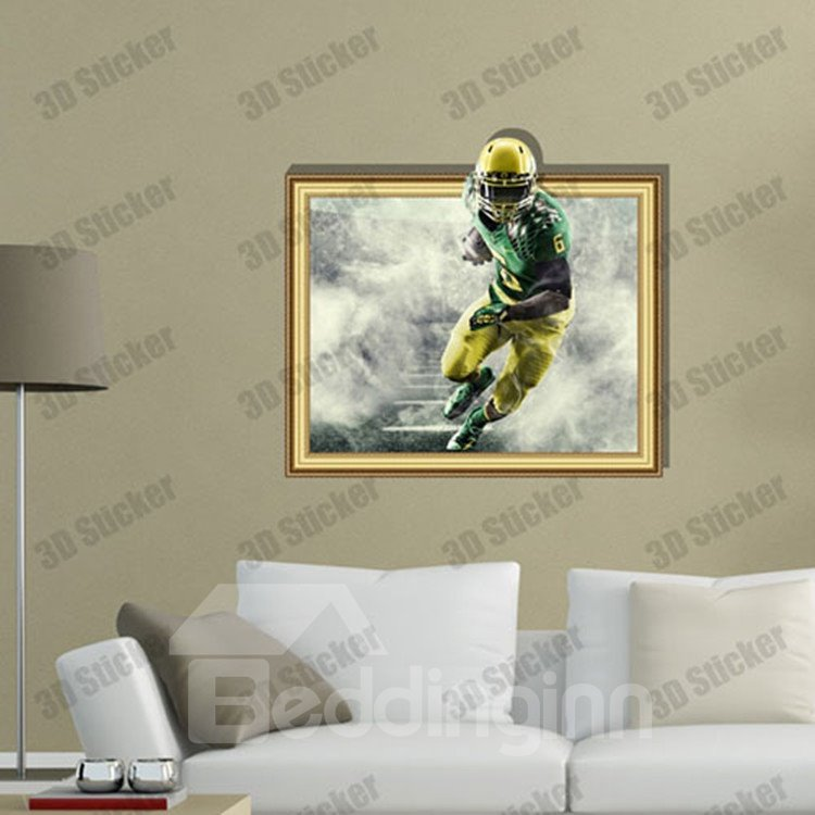 Amazing Style Creative 3D Rugby Player Wall Sticker