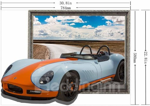 Stunning Stylish 3D Sports Car Wall Sticker