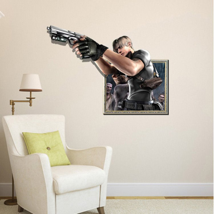 Stunning Creative Gunner Print Framed Decorative 3D Wall Sticker