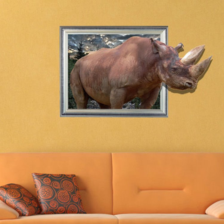 New Arrival Amazing Creative 3D Rhino Wall Sticker