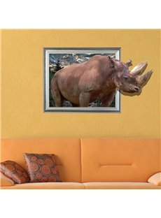 New Arrival Amazing Creative 3D Rhino Wall Sticker