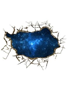Blue Alluring Creative 3D Broken Starry Sky Scenery Wall Sticker