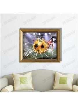 Amazing Creative 3D Football Girl Wall Sticker