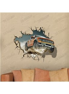 Stunning Creative 3D Broken Hole Car Pattern Wall Sticker