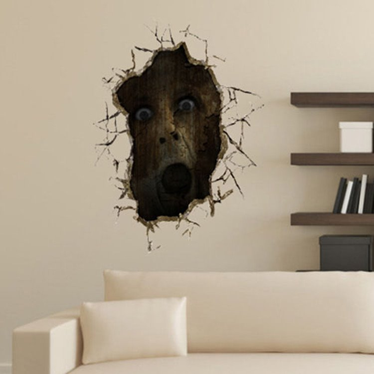 Stunning Creative 3D Horrible Face Wall Sticker