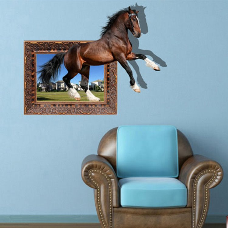 Amusing Creative Brown Horse Pattern Design Waterproof 3D Wall Sticker