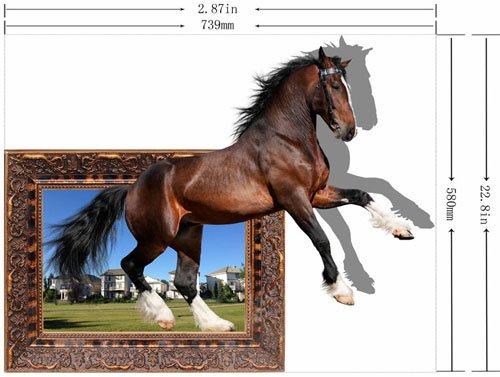 Amusing Creative Brown Horse Pattern Design Waterproof 3D Wall Sticker
