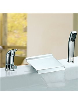 Fancy Contemporary Chrome Finish Waterfall Two Handles Widespread Bathtub Faucet