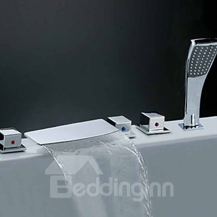 Simple Style Chrome Finish Waterfall Bathtub Faucet