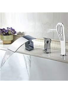 Amazing Chrome Finish Widespread Waterfall Bathtub Faucet