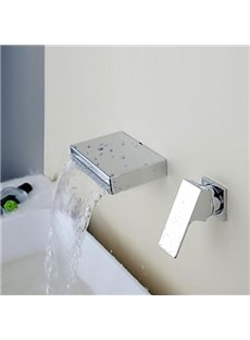 Contemporary Waterfall Chrome Brass Two Holes Single Handle Bathroom Sink Faucet