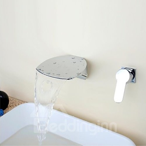 Contemporary Waterfall Two Holes Single Handle Bathroom Sink Faucet