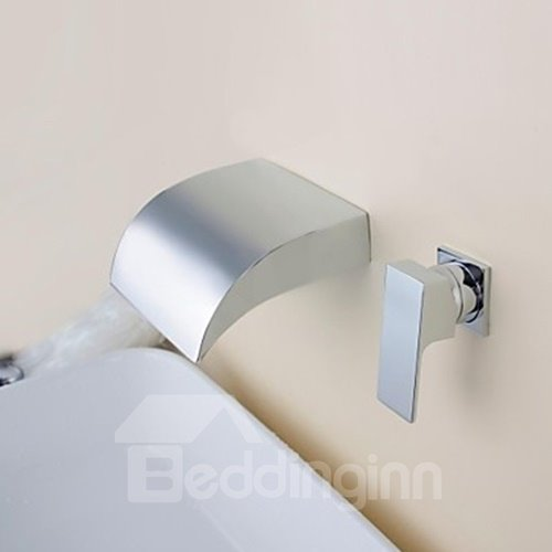 Contemporary Waterfall Chrome Brass Two Holes Bathroom Sink Faucet