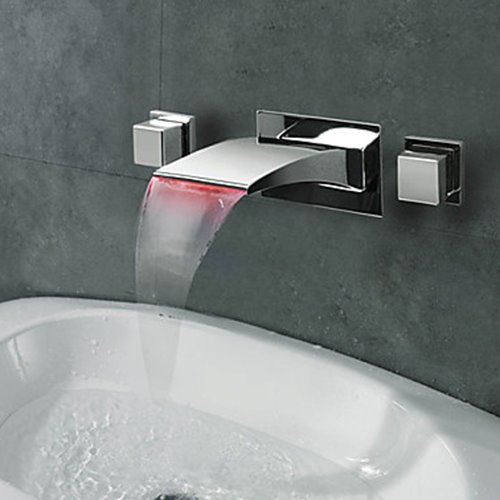 Contemporary Widespread Waterfall Wall Mount Three Colors LED Bathroom Sink Faucet