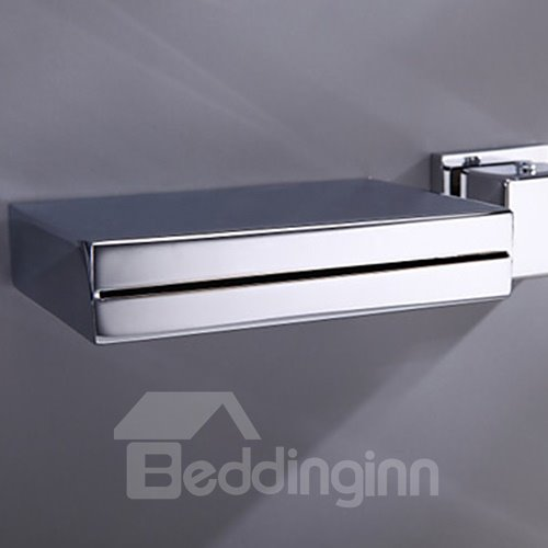 Modern Widespread Wall Mount Waterfall Three Colors LED Bathroom Sink Faucet
