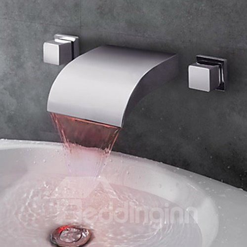 Contemporary Arcuate Spout Waterfall Three Colors LED Bathroom Sink Faucet