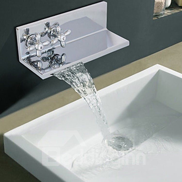 Contemporary Chrome Finish Two Ellipse Handles Waterfall Bathroom Sink Faucet