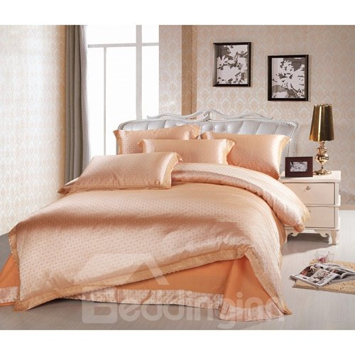 Modern Life Solid Color Satin Jacquard 4-Piece Duvet Cover Sets
