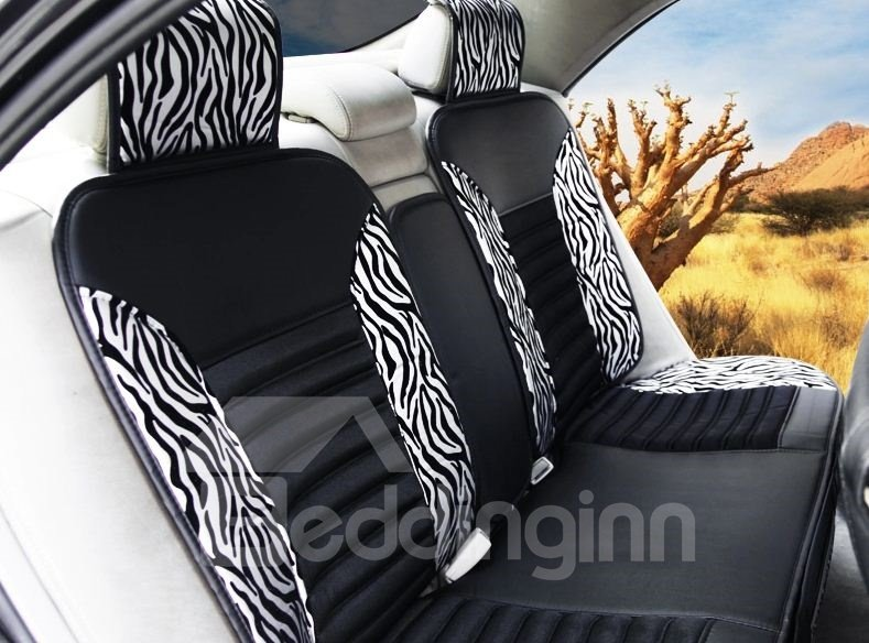 High Quality Classic Zebra Print Silver Car Seat Cover