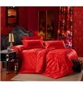 Forever Love Solid Red Rose Pattern 100% Cotton 4-Piece Duvet Cover Sets