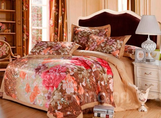 Secret Garden Flower Satin Jacquard 100% Cotton 4-Piece Duvet Cover Sets