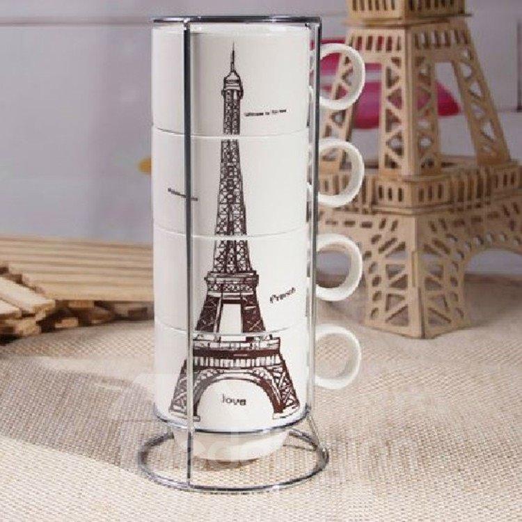 Amazing Creative Eiffel Tower Four-piece Coffee Mug Sets