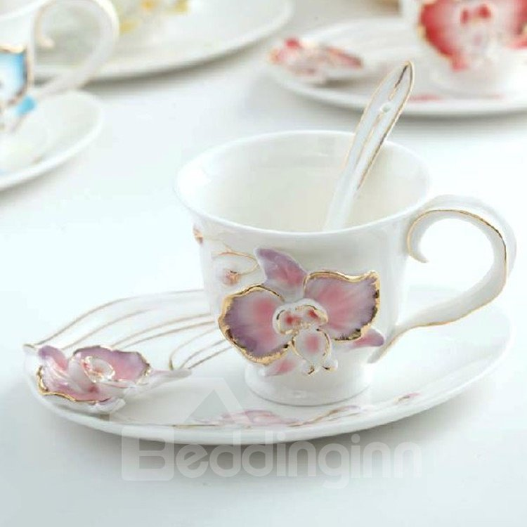 Amazing Butterfly Orchid Design Ceramic Coffee Mug Sets