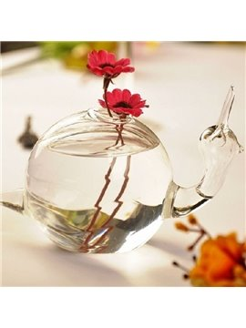 Glamorous Creative Delicate Snail Design Glass Flower Vase