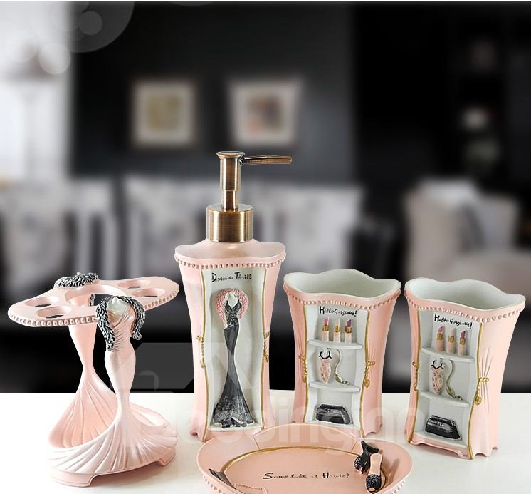 High Quality European Style Pink Resin Bathroom Accessories