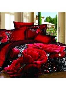Alluring Red Rose Print 100% Cotton 3D Duvet Cover