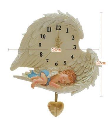 Lovely Resin Angel Pattern Heart Shape Wall Clock