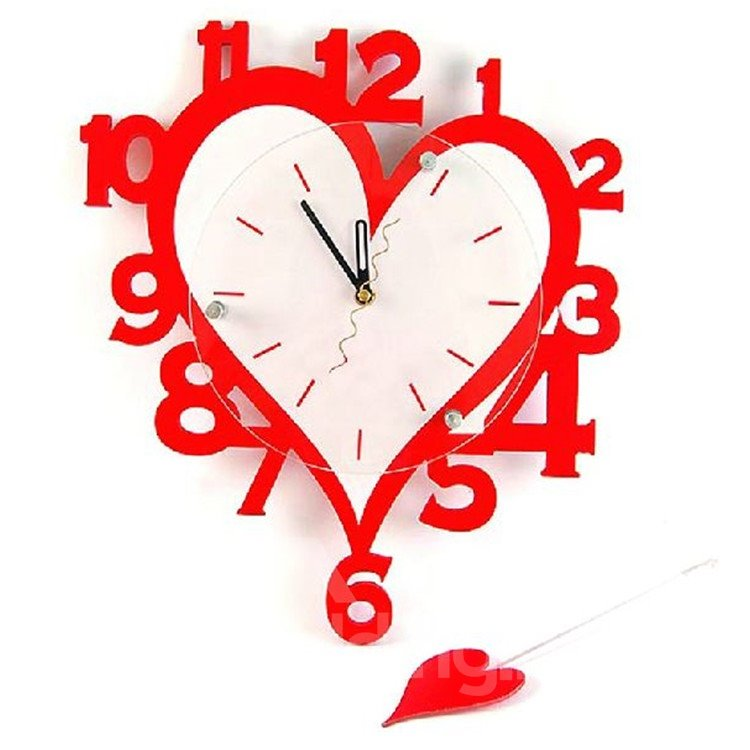 Amazing Numbers Design Heart Shaped Red Wall Clock Beddinginn