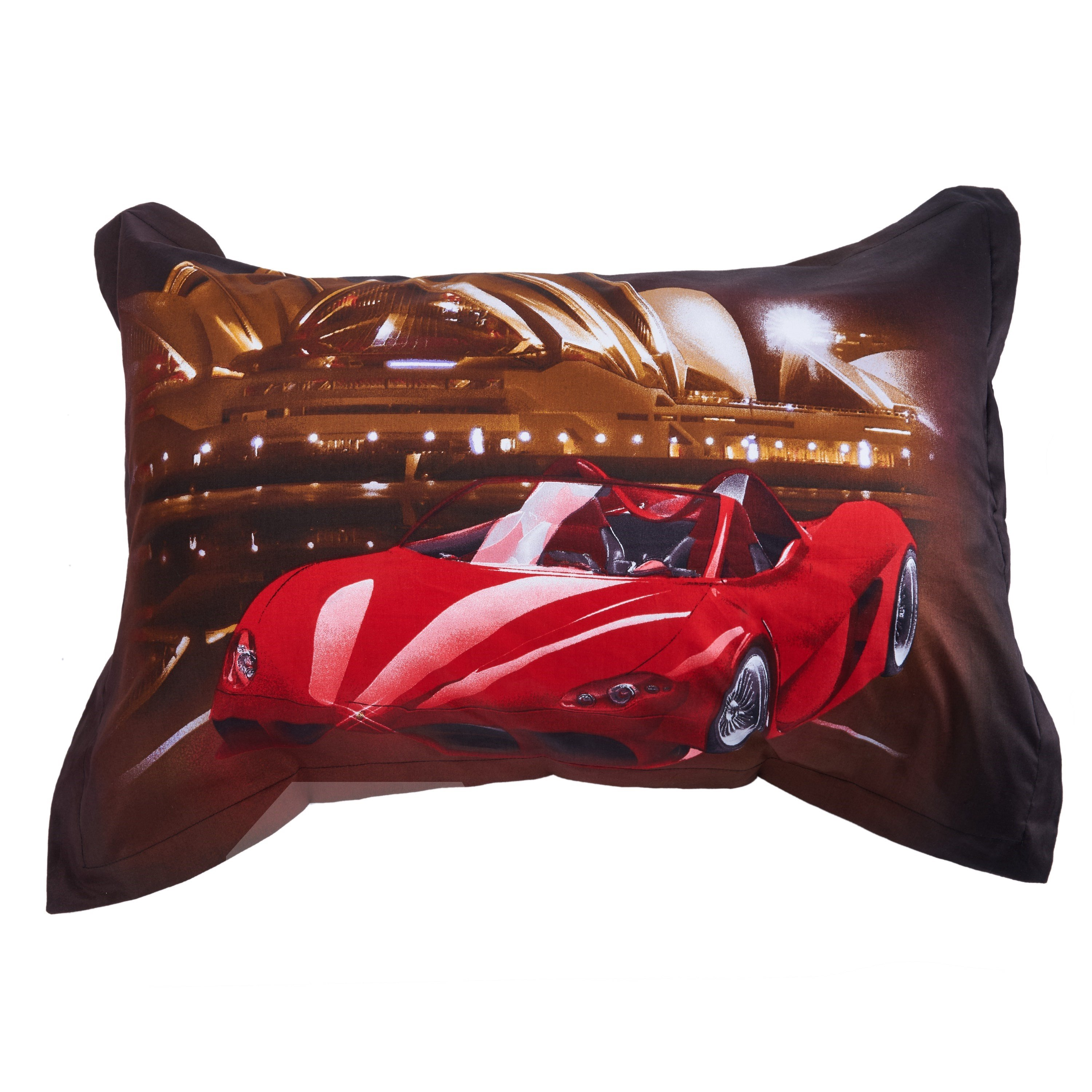 One Red Lamborghini Car Running in Night Print 4-Piece 3D Duvet Cover Sets
