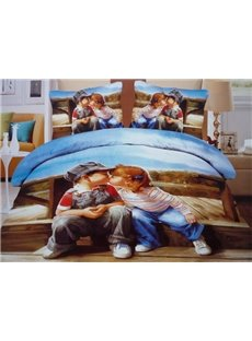 Lovely Kissing Babies Print 4-Piece 3D Duvet Cover Sets