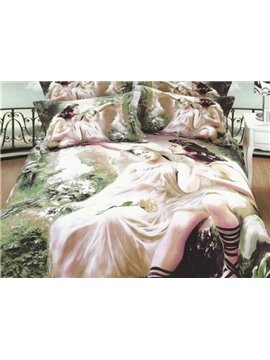 Beautiful Couples Oil Painting 4-Piece 3D Duvet Cover Sets
