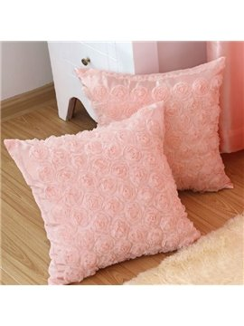 Fancy Delicate Pink Roses Decorative Pillowcase