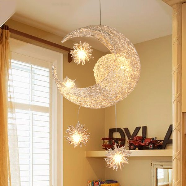 55 Simple Style Creative Star And Moon Design Cinderella Flush Mount Ceiling Light