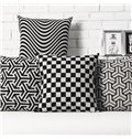 Fancy Stripe Pattern White and Black Pillowcase