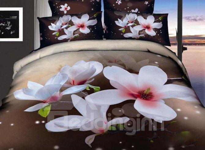Beautiful White Flowers Print 4-Piece 3D Cotton Duvet Cover Sets