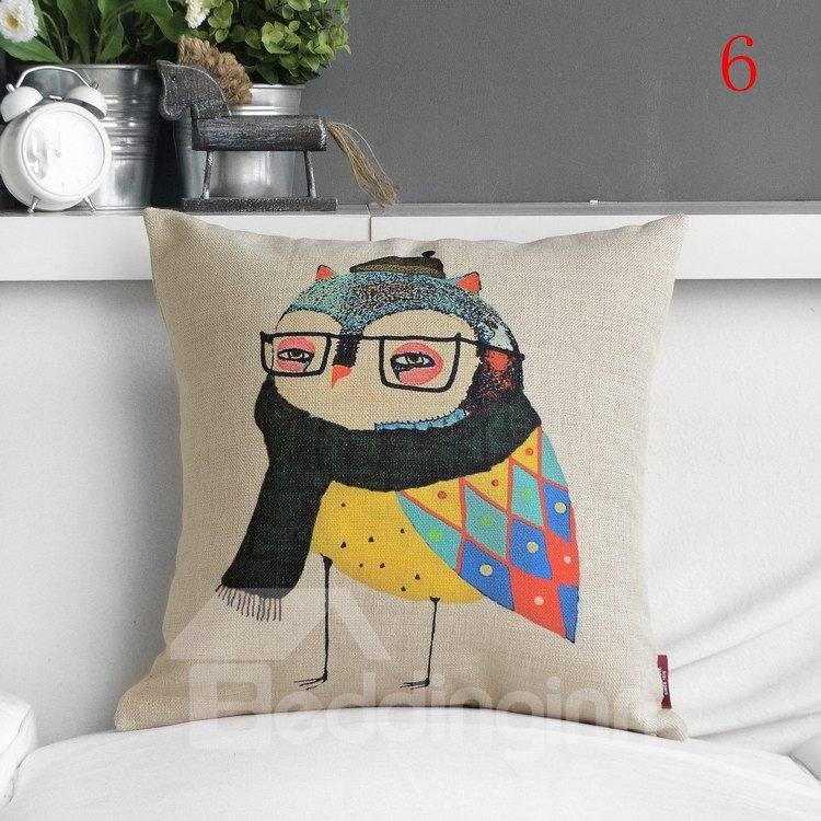 Fancy Unique Colorful Bird Print Pillowcase
