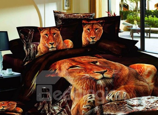 Beautiful Golden Lion on Stone Print 4-Piece 3D Bedding Sets