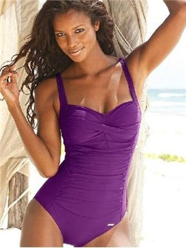 Vintage Style Solid Color Pleated One-piece Push-up Underwire Monokini