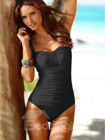 Fashion Fancy Slim Ruffle Detail Wireless Swimsuit