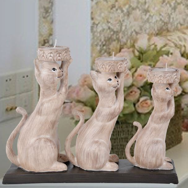 Creative Lovely Three Cats Design Resin Candle Holder