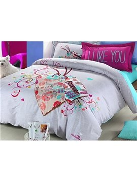 Love You Forever Flower Print 4-Piece Duvet Cover Sets