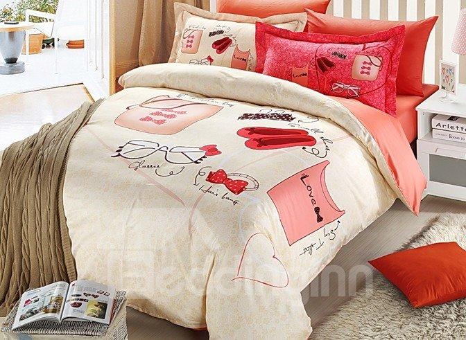 Fashion Clothes Accessories Print 4-Piece Duvet Cover Sets
