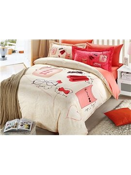 Fashion Clothes Accessories Print 4-Piece Duvet Cover Sets