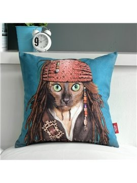 Lovely Captain Jack Print Blue Throw Pillow