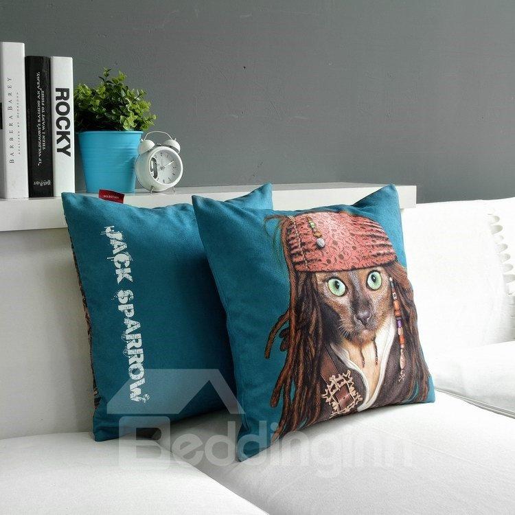 Lovely Captain Jack Print Blue Throw Pillow
