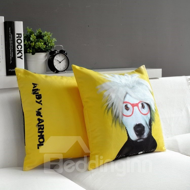 Amazing Cute Dog Wearing Glass Print Throw Pillow